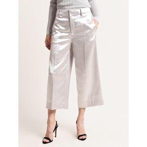 VINCE 8 Satin Metallic Crop Wide Leg Pants Silver